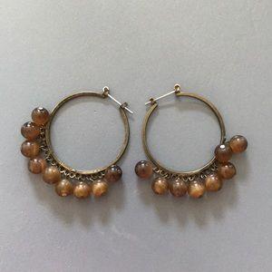 Brown Beaded Boho Hoop Earrings